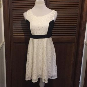 Black and Cream Lace Fit and Flare Dress